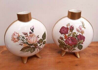 Pair Of 19thC Doulton Moon Flask Vases Hand Painted Florals Gilded  • 160£