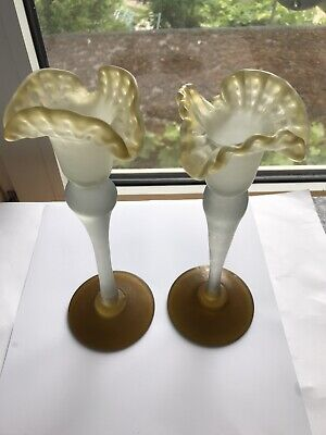 """A PAIR OF RARE VICTORIAN FROSTED GLASS CANDLESTICK OR VASES EXCELLENT ~9"""" Tall • 29.95£"""