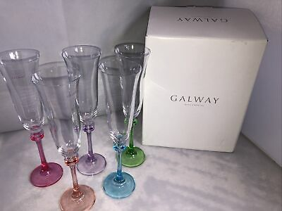 Galway Irish Crystal Liberty Party Pack Flutes Prosecco Glasses X5 • 30£