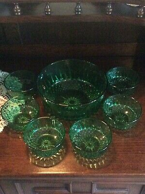 Vintage Retro (Arcoroc) Emerald Green Trifle/Fruit Bowl & 6 Dishes,Early 60's. • 20£