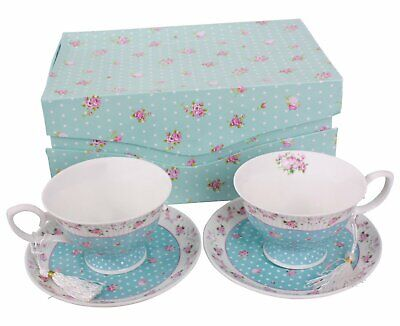 Coffee Tea Cups And Saucers Set Of 2 Vintage Flora Rose Blue Pink • 19.95£