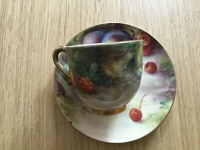 Royal Worcester Cup And Saucer Painted With Fruit,hand Painted. • 60£