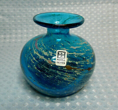 Mdina Art Glass Single Bud Vase – Signed Blue 8cms • 10£