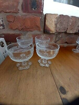 Vintage Italian Bubble Base Stemmed Barocca Glass Sundae Dishes X 4 • 7.99£