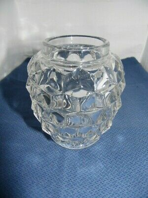Cube Pattern Clear Glass Vase • 6.95£