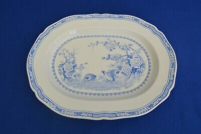 Vintage Furnivals Blue Quail Pottery Large Meat Platter - Blue & White • 49.99£