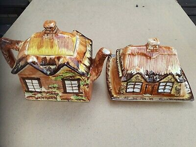 Ye Olde Cottage Tea Pot And Butter Dish Made In England • 5£