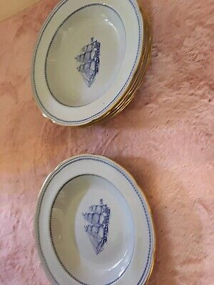 6 X Vintage Spode Rimmed Soup Bowls. Trade Winds Blue.  1960  Collectibles • 10£