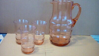 Vintage/art Deco Salmon Pink Pitcher And 3 Glasses Probebly Whitefryers • 15£