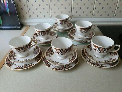 6 X COLCLOUGH ROYALE Trios 8525 ENGLISH BONE CHINA TEA SET SERVICE RETRO VINTAGE • 14.99£