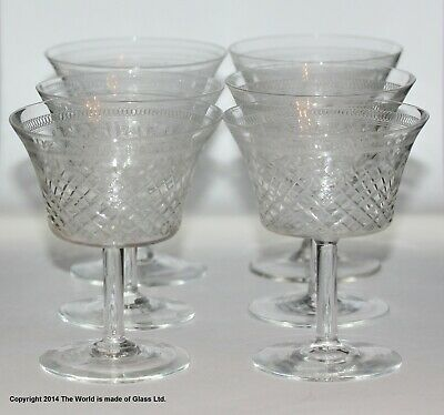 Set Of 6 Pall Mall/Lady Hamilton Pattern Small Champagne Coupes, Etched/cut • 48£
