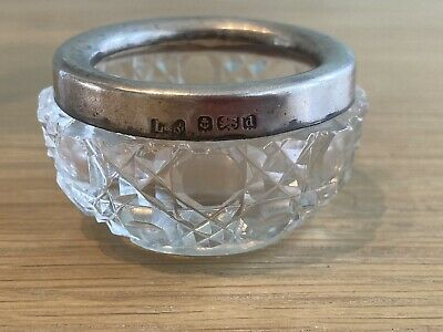 Antique Small Cut Crystal Glass Pot With Hallmarked Sterling Silver Rim • 6.80£