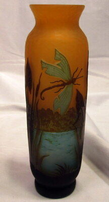 Galle French Cameo Glass Vase With Dragonfly 2 Sides, Scenic Water Floral Decor • 113.09£