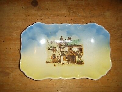 Vintage Sandland Ware Blue And Yellow Soap Dish Village Scene • 1.99£