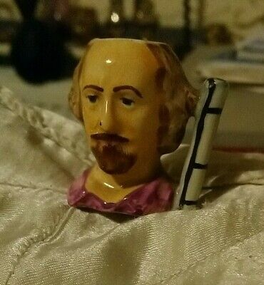Miniature William Shakespeare  Hand Painted Toby Jug. 4.5 Cm Tall.Signed.  • 2.99£