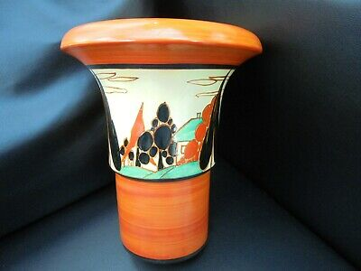 A Clarice Cliff Archaic 375 Shape Vase In RED TREES & HOUSE. • 1,350£