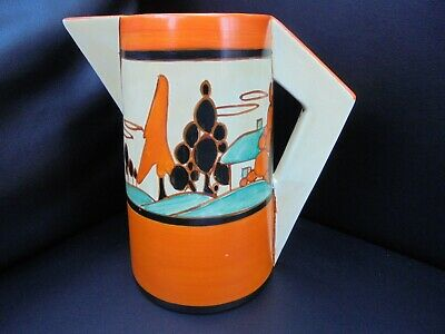 A Clarice Cliff Large Conical Jug In TREES & HOUSE Pattern. • 750£