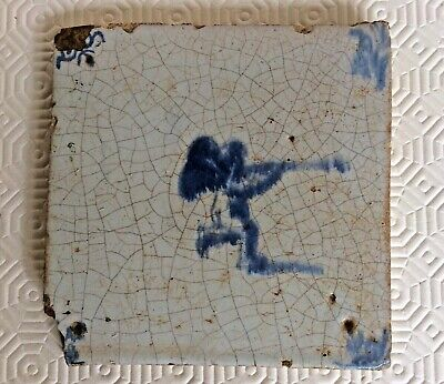 Late 17th Early 18th Century Delft Thick Tile With Pin Holes!  • 65£