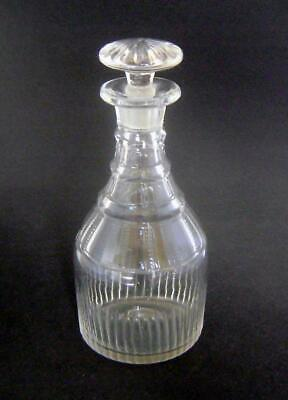 Late Georgian Cut Glass Decanter :Triple Faceted Rings & Mushroom Stopper • 25£