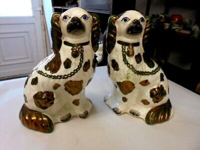 Pair 19th.Century Staffordshire Mantel/Wally Dogs 10  Tall FROM HOUSE CLEARANCE • 19.99£