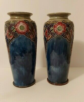 A Pair Of Early 20th Century Royal Doulton Relief Vases One A/f. 8724D C 1925 • 40£