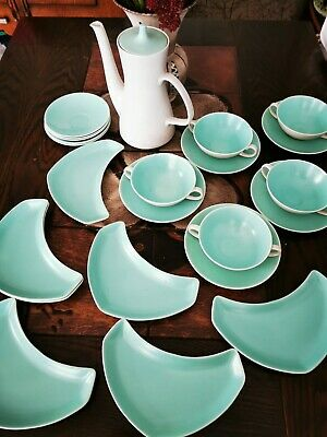 Poole Pottery Ice Green & Seagull Coffee Pot, Side Plates, Soup Bowl Saucers • 10£