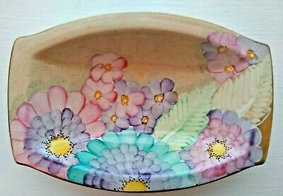 Gray's Pottery Hand Painted Dish With Pink & Purple Flowers 17 Cm Long C.1930's • 20£