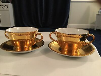 Royal Worcester Gold  6 Soup/ Chocolate Cups And Saucers Ex. Condition • 28£