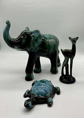 Collection 3x Canadian Blue Mountain Pottery Ornaments Elephant, Deer, Turtle • 35£