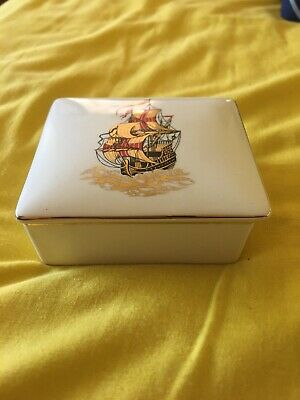 Vintage Sandland Ware Lidded Trinket/cigarette Box With Galleon Design To Lid. • 8£
