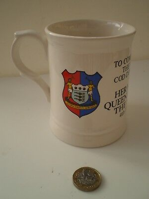 A China Mug / Tankard Commemorating The Queen's Visit To COD Donnington In 1982 • 10£