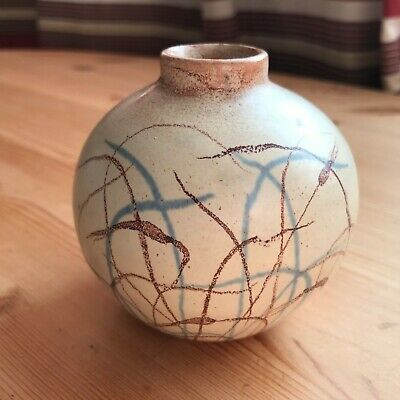 Small Round Pottery Glazed And Decorated Posy / Bud Vase 8cm • 3£