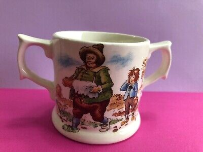 *sweet Children's Glazed Pottery Two Handled Cup With Motifs - Hot Cross Buns??* • 3.99£