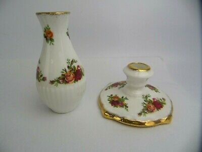Royal Albert Bone China Old Country Candle Holder And Small Vase • 10£