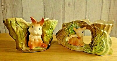 Two Lovely Vintage Withersea ( Eastgate ) Pottery Fauna Vases- Deer & Rabbit • 5£