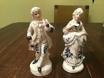 Vintage Pair Gild Blue And White Porcelain Figurines Male And Female • 3.99£