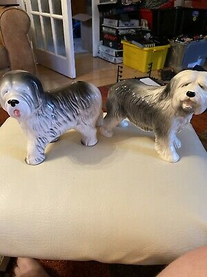 OLD ENGLISH SHEEP DOG FIGURE  TALL VINTAGE Dulux X2 • 4.50£