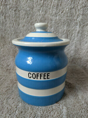 Lovely T G Green Blue Cornishware Rubber Sealed Coffee Storage Jar • 17£
