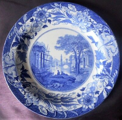 WEDGWOOD 'BLUE CLAUDE' PATTERN PLATE,  PERFECT, C.1822 • 30£