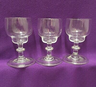 Antique Georgian Drinking Glasses Double Ogee Folded Foot Set Of 3 • 45£