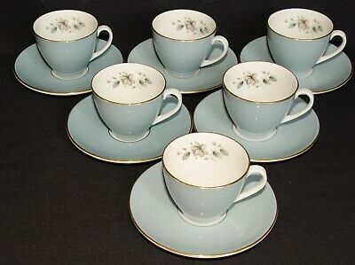 Royal Doulton Rose Elegans 6 Coffee Cups And Saucers • 9.95£