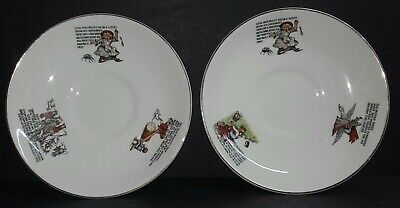 2 Vintage 1930s Solian Ware Soho Pottery Children's Nursery Rhyme Saucers • 2.99£