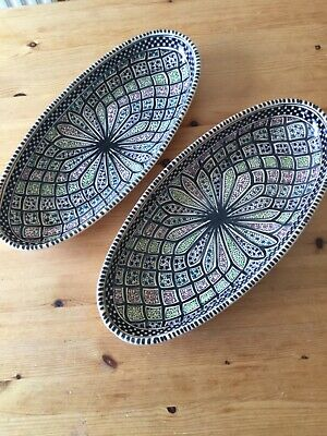 Hand Made And Hand Painted  Large Oval Pottery Dish X 2 • 4£