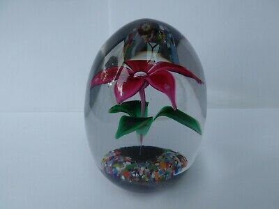 Strathearn Double Flowered Glass  Paperweight With S Cane • 14.99£