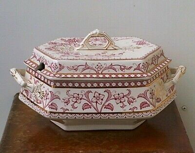 Antique (1880's) Wedgwood & Co (Verona Design) Ironstone Tureen With Gold Emboss • 29.99£