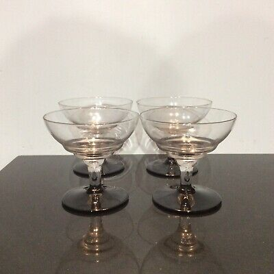 Set 4 Champagne Coupes Saucers Glasses Clear Black Foot Stylish Retro Toast • 18£