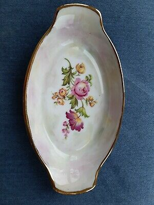 Beautiful Lustre Dish With Flower Design And Gold Gilt Edge. Handpainted. • 11.50£