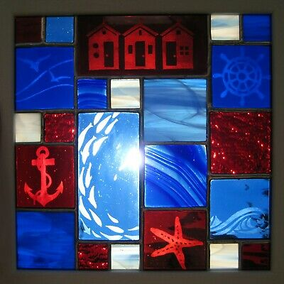 Handmade Stained Glass Panel - Seaside, Blue, Red, Framed • 45£