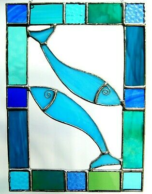 Colourful Handmade Stained Glass Suncatcher With Fish - Blue, Green • 11£