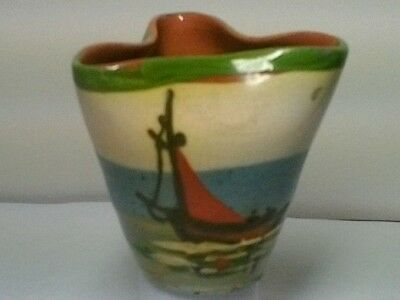 PLYMOUTH GAS FIRED POTTERY? Uncommon Pinched Pot With Sailing Boat Design  • 22£